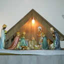 My mom gave me this Hummel nativity set my first Christmas with my husband in 1969 and it has been the first item I put out every year the Friday after Thanksgiving and do not put away until after Little Christmas.  Lorraine Steinsberger